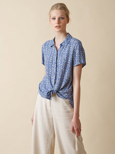 Indi & Cold Wood block print short sleeve shirt in Cobalt blue - CW CW