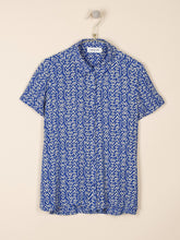Load image into Gallery viewer, Indi & Cold Wood block print short sleeve shirt in Cobalt blue - CW CW