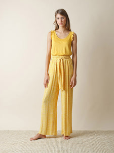 Indi & Cold Woodblock print wide leg trousers in Yellow - CW CW