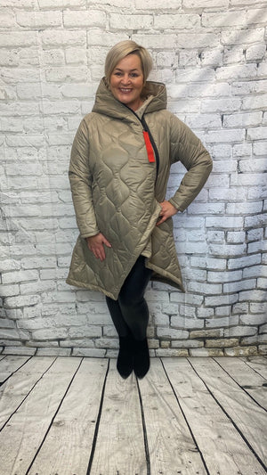 Padded Asymetric Coat - Champagne