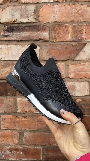 Studded Sock Trainers - Black