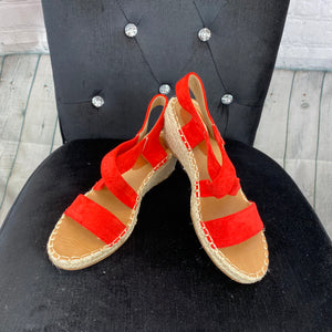 Faux Suede Wedge - Red