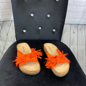 Bow Tassel Sliders - Orange