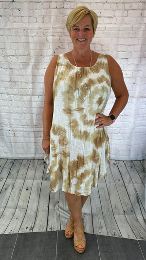 Tie Dye Cheesecloth Dress - Brown