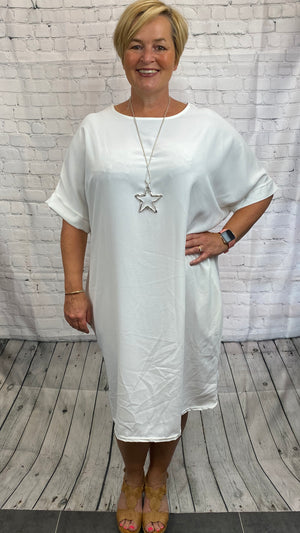 Plain Straight Cut Dress - White