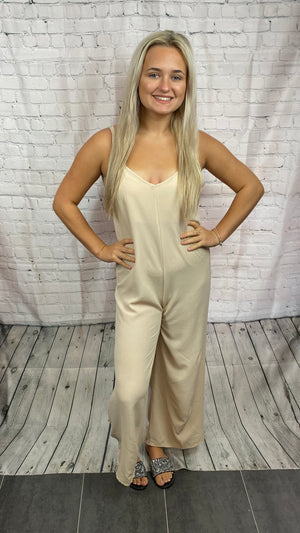 Plain Basic Jumpsuit - Beige