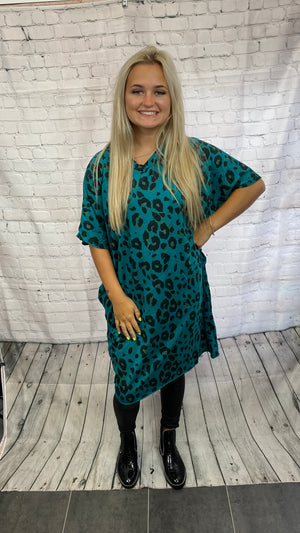 V-Neck Animal Print T-Shirt Dress - Teal