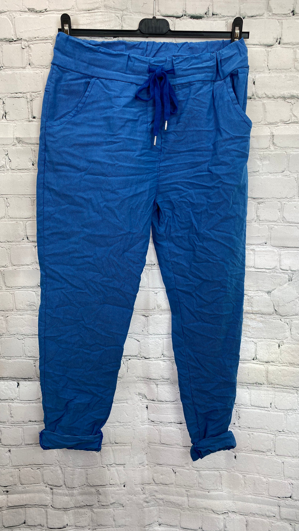 Plain Drawstring Magic Trousers - Bright Blue