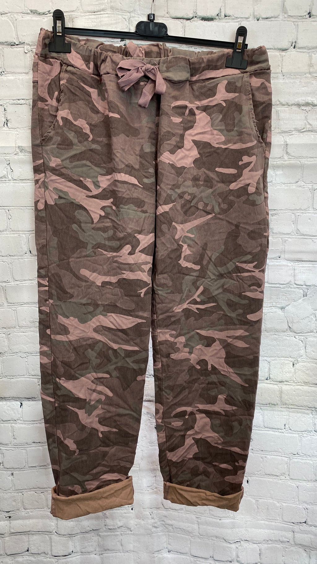 Camo Drawstring Magic Trousers - Pink