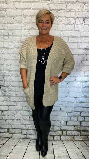 Woollen Knit Pocketed Cardigan - Beige