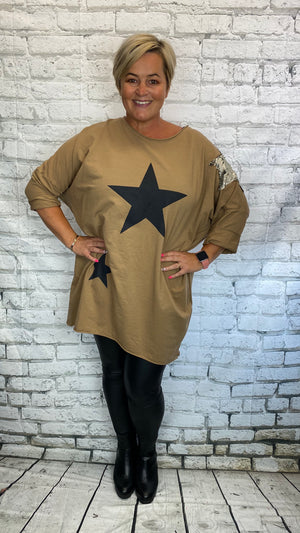 Sequin Star Patch Sweater - Camel