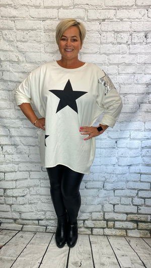 Sequin Star Patch Sweater - White