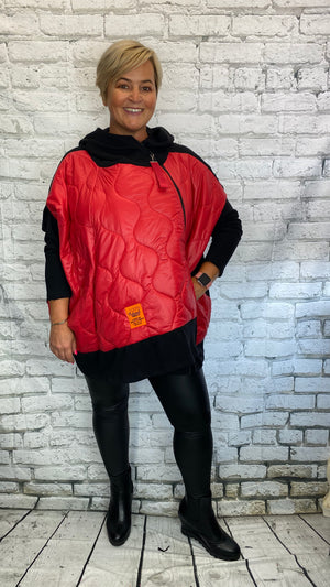Padded Sweater Coat - Red