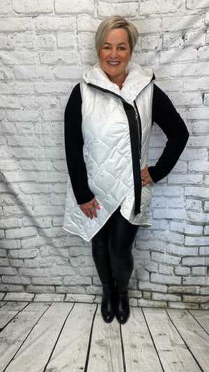 Asymetrical Padded Bodywarmer - White
