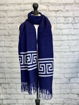 Winter Scarf - Inspired Navy Print