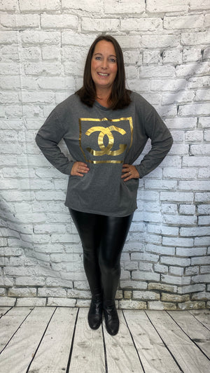 Gold CC Print Tunic - Grey