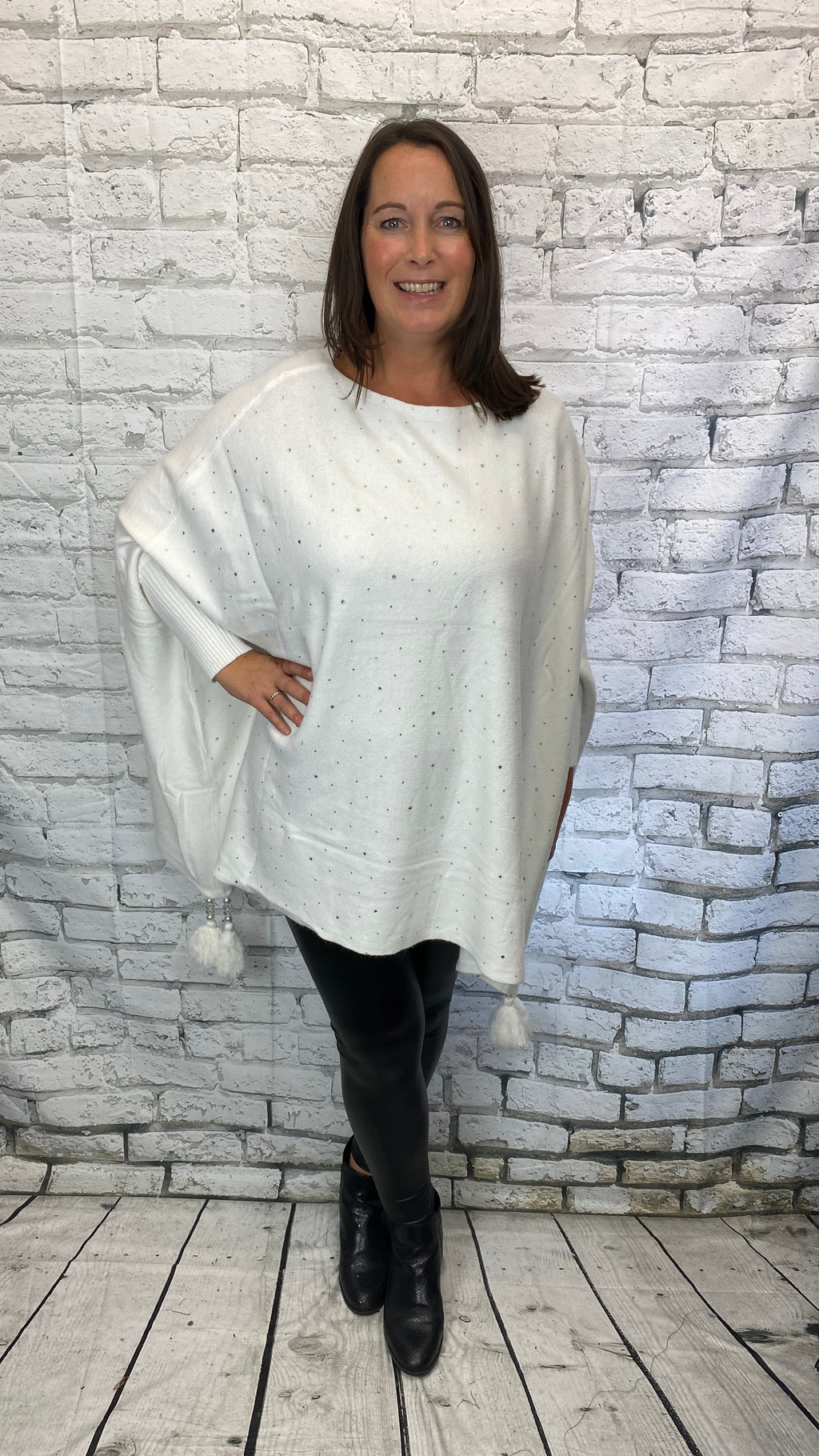 Dimante Tassel Bottom Poncho - White