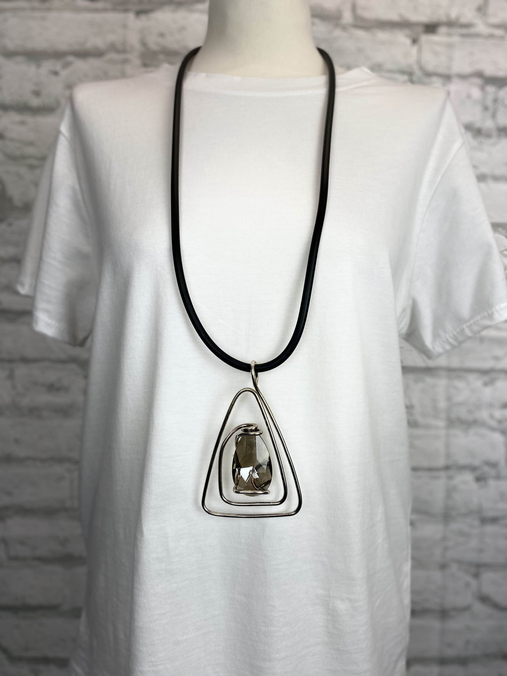 Black Rubber Necklace - Pyramid Stone