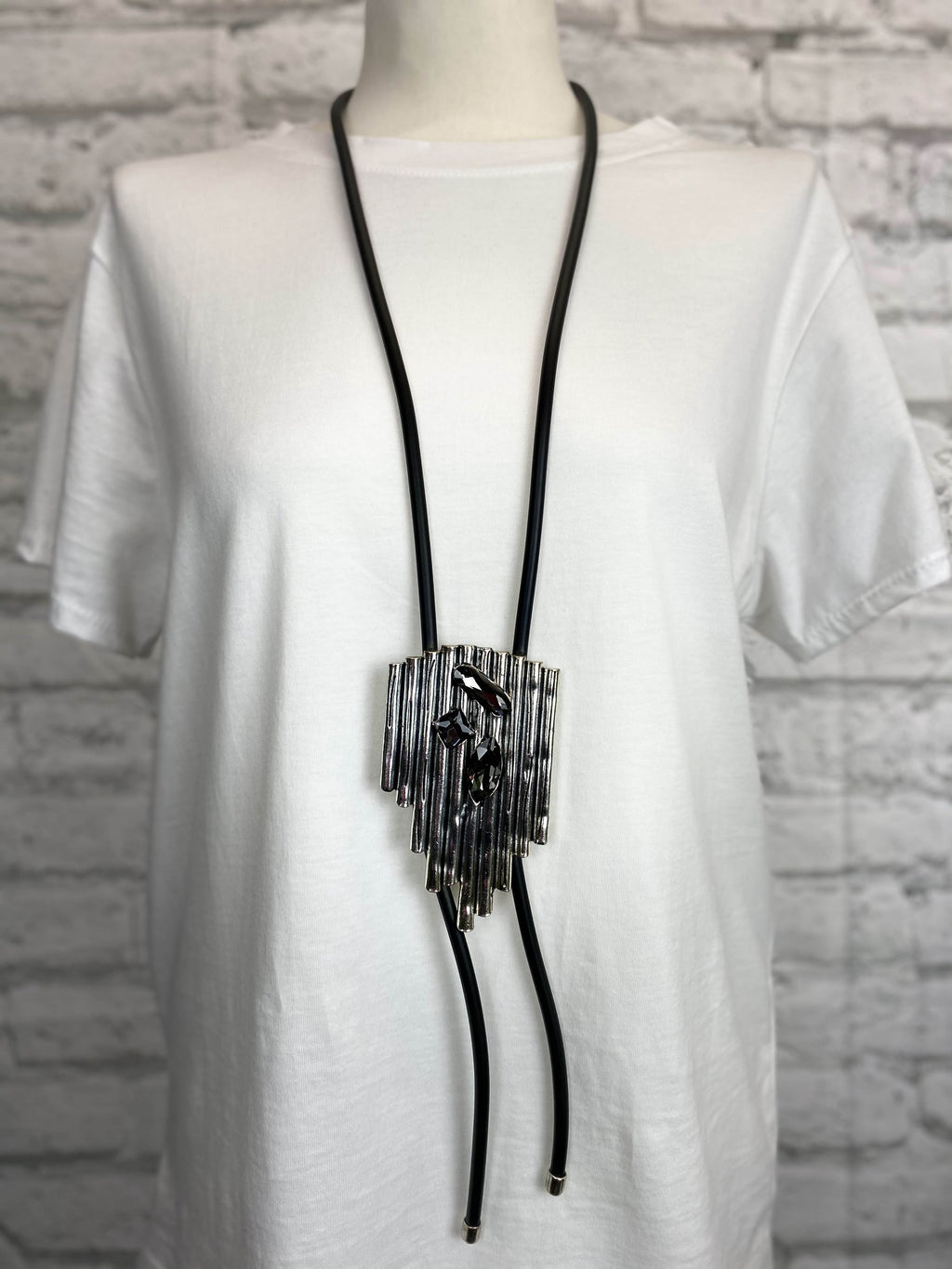 Black Rubber Necklace - Ribbed Panel