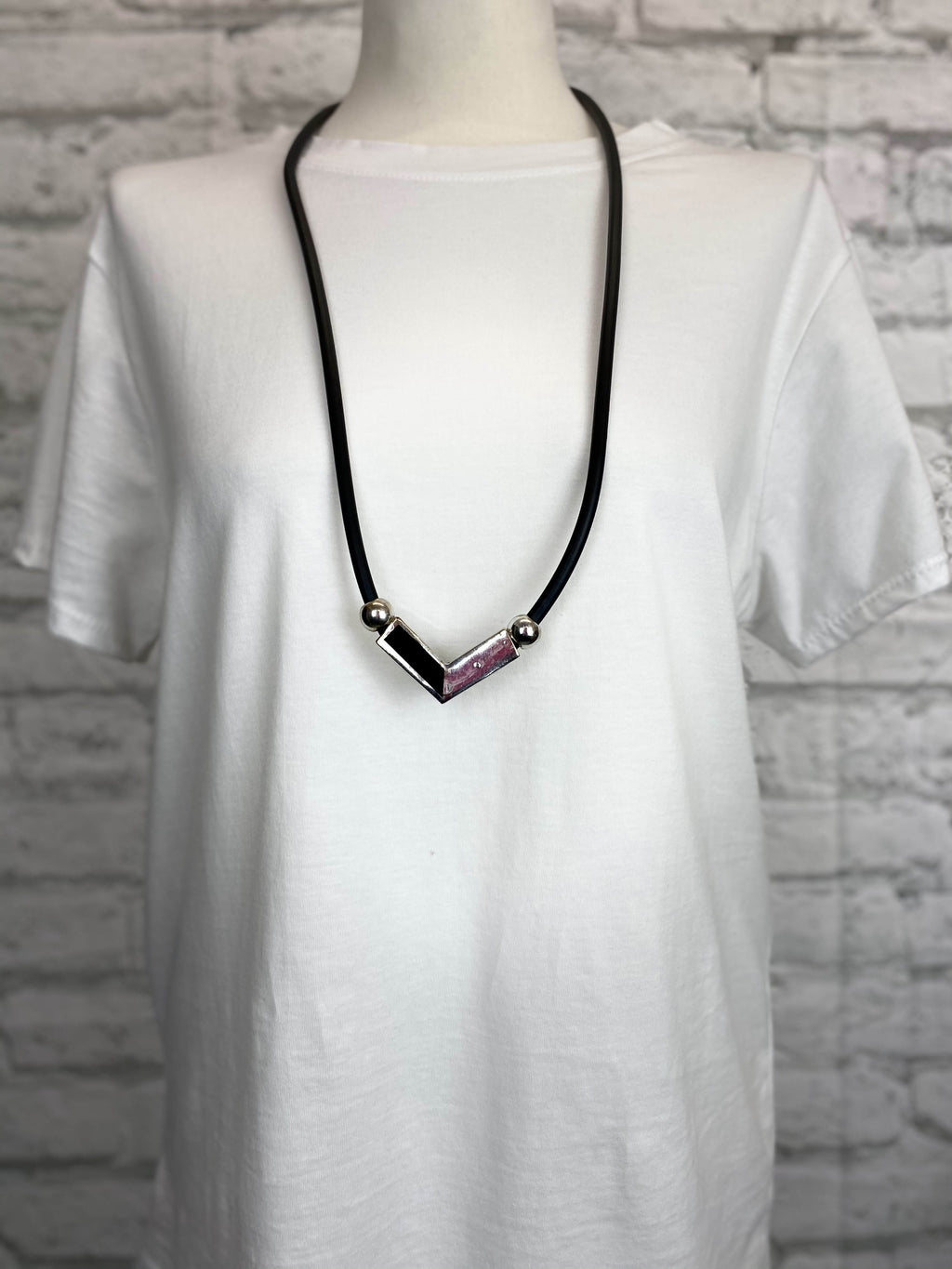 Black Rubber Necklace - Arrow Down