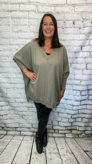 V-Neck Sweatshirt - Khaki