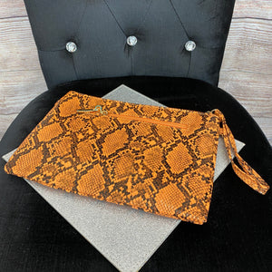 Snakeskin Toiletry Wash/Makeup Bag - Orange