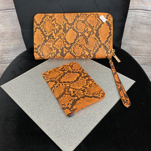 Snakeskin Clutch Bag & Passport Holder - Orange