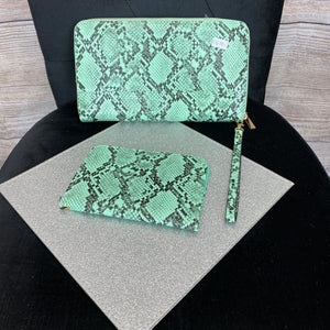 Snakeskin Clutch Bag & Passport Holder - Mint Green