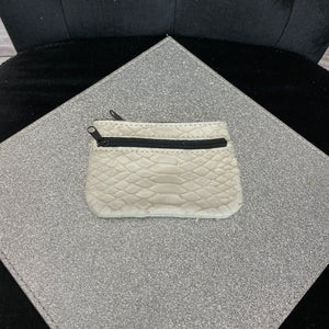 Leather Coin Purse - Croc Leather - Cream
