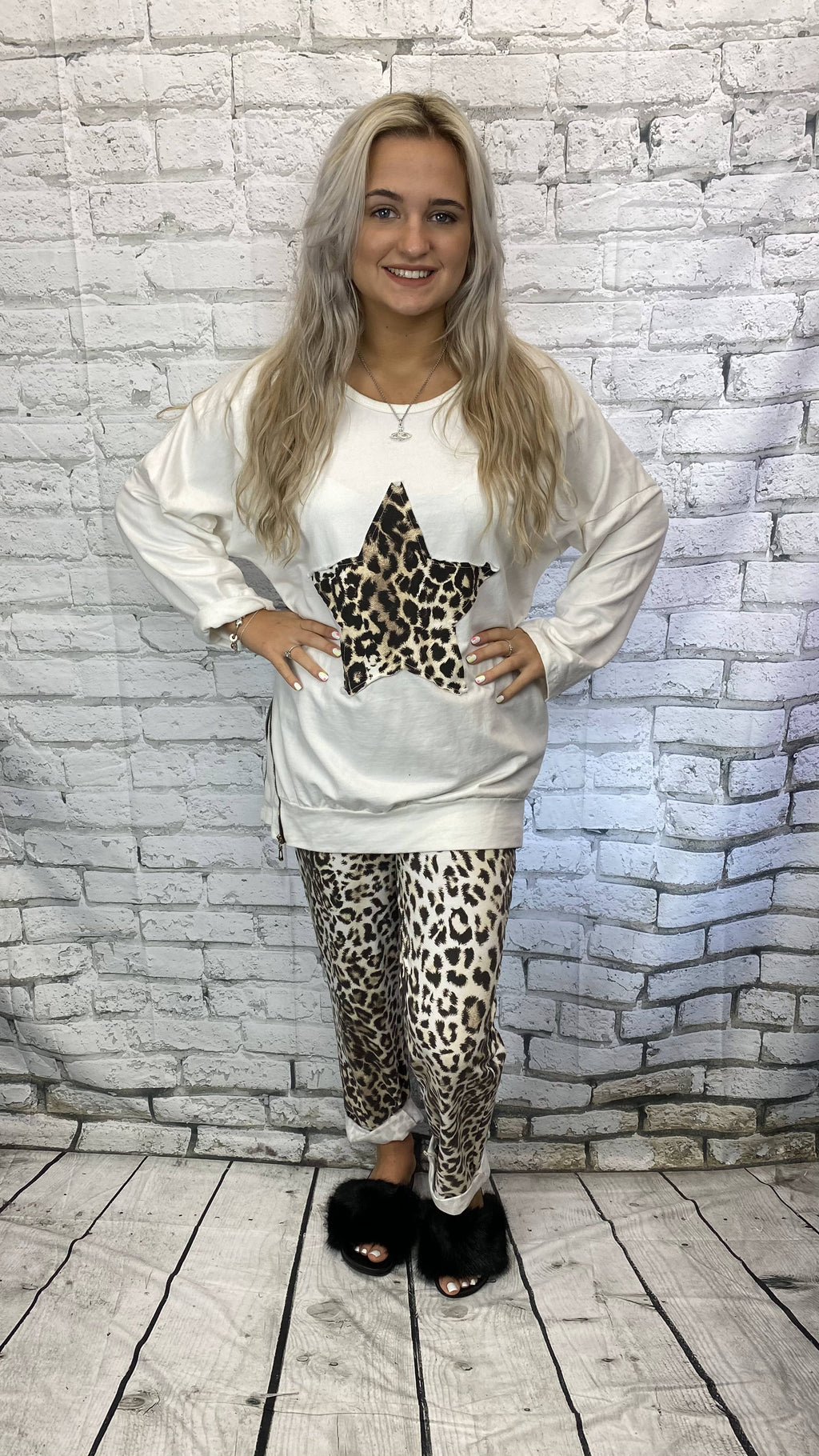 Animal Print Star Lounge Suit - Winter White
