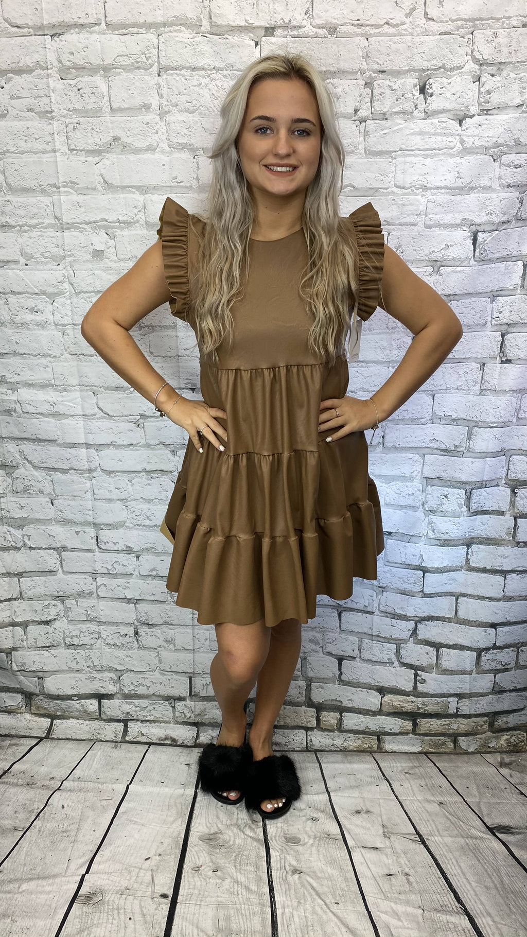Bella Faux Leather Frill Tiered Dress - Camel