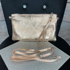 Metallic Crossbody or Wristlet Bag - Rose Gold