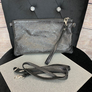 Metallic Crossbody or Wristlet Bag - Black