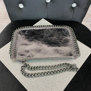 Inspired Hand Clutch - Metallic Pewter