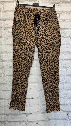 Leopard Print Suede Magic Trousers - Camel