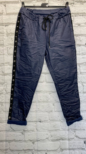 Coil Side Pleather Magic Trousers - Blue