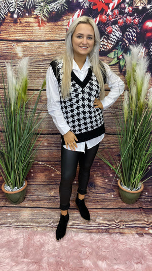 Dog Tooth Woollen Vest W/ Shirt - Black