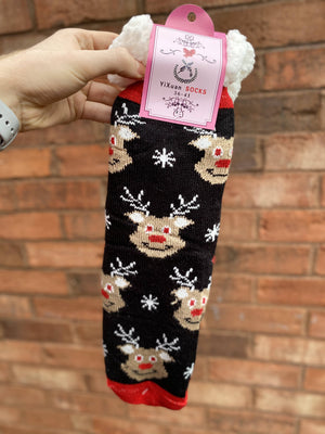 Winter Socks - Black Reindeer Face Design