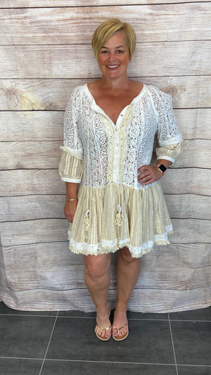 Lace Gypsy Style Cold Shoulder Tassel Dress