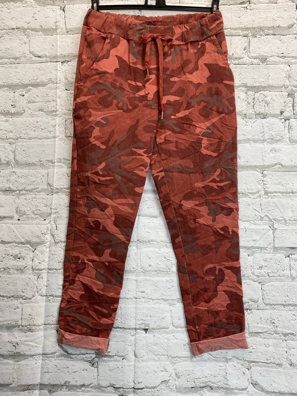 Camo Glitter Drawstring Magic Trousers - Red