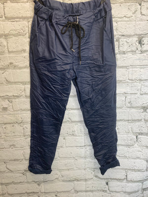 Pleather Magic Trousers - Navy Blue