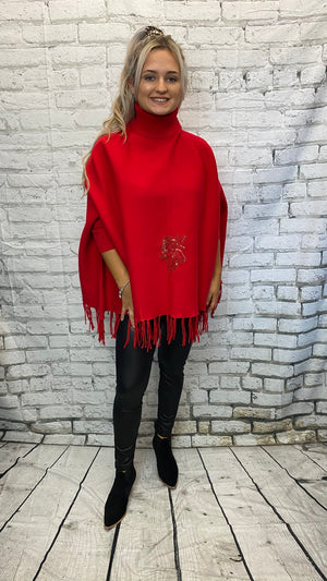 Sequin Rose Winter Tassel Poncho - Red