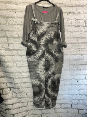 Tie Dye Dungarees w Top - Light Grey