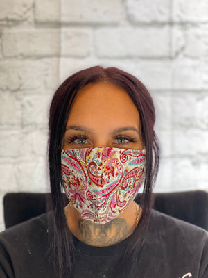 Fashion Face Mask - Hot Pink Aztec