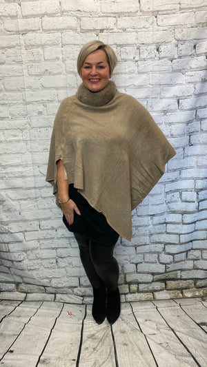 V-Bottom Poncho - Camel