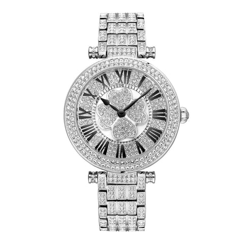 BBC Luxury Women Watch Crystal Rotatable Four-leaf Clover Dial Waterproof Bracelet Quartz