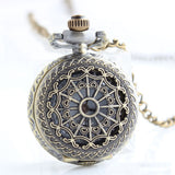 New Women Men Pocket Watch Retro Bronze Tone Round Shape Spider Web Pattern Watches