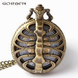 Vintage Steampunk Nursing Skeleton Spine Ribs Hollow Quartz Pocket Watch