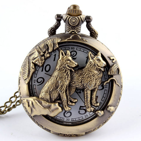 Retro Bronze Dog Wolf Holow Quartz Pocket Watch