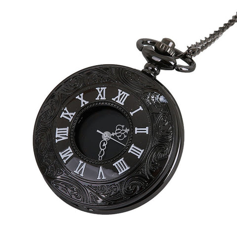 Chain Retro Roman Numerals Pocket Watch Necklace For Grandpa Dad Gift